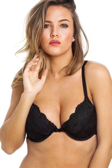 Camille Womens Ladies Black Push Up Plunge Paddded