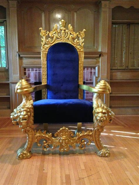 LARGE GOLD & BLUE LIONS HEAD KING CHAIR THRONE LOVESEAT