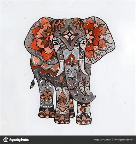 Sketch red elephant with beautiful patterns