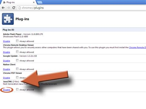 How To Disable the Java Plugin in Your Browser – Chrome